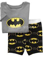 T076 2015 New Batman design 100% Cotton Children's wear,Baby short sleeve pajamas,Kids pyjamas boys girls sleepwear set 6set/lot