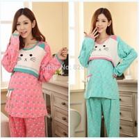 L to XXXL Pregnant gravida nursing pajama pijama lactancia women pajamas fall  winter long sleeved  breast feeding clothes