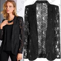 2014 FASHION Womens Coat Slim Ladies Blazer Lace Lapel Jacket Black Suit 4 size