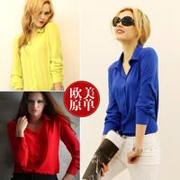 New 2015 spring summer Women V-neck long sleeve chiffon Blouse/blusas femininas tropical plus size body blouses blusinhas