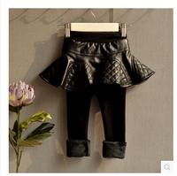 children's clothing wholesale Girls Winter false two plus suede crony Leggings