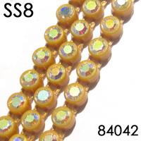 Gold Plastic AB Rhinestone Banding SS8 10 Yards/lot, Total 45 Colors