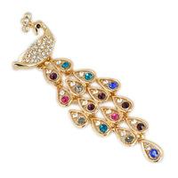 Zinc alloy crystal rhinestone peacock brooch pin free shipping