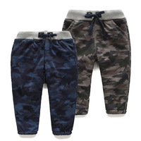 2014 winter Camouflage boys clothing child plus velvet thickening long trousers casual pants trousers kz-5907