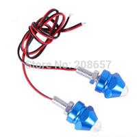 1Pair Blue 12V LED Motorcycle 7 Color Strobe Flash Bullet Lights Decorative Lamp