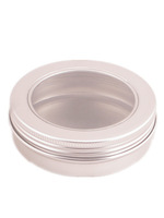 100ml  Aluminium Balm Tins pot,comestic containers   with Clear View Window lid,screw thread lid ,Lip Balm Gloss Candle