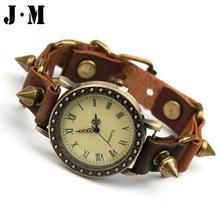 J&M- European Punk Rock Mens Watches Soft Leather Bronze Patchwork Watchband Vintage Watch Spikes Rivets Bracelets Watch For Men