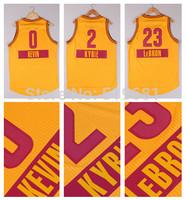 2015 Chrismas game Basketball jersey CAV #0 KEVIN #2 KYRIE #23 LeBRON men yellow jerseys Size S-XXL,Drop shipping