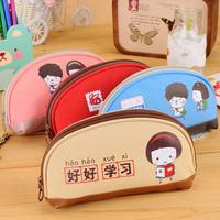 1PCS Korea Stationery Cartoon Semicircle Pencil Pen Bag Storage Bag Students Canvas Pouch