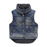 2014 winter boys clothing girls clothing baby child thickening denim vest wt-4312