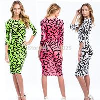 2015 New Night club Women dress Sheeth print Sexy dresses Discotecas saia Seven sleeve hugger dress Party dresses