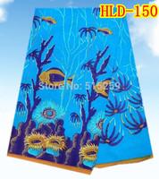 Wondernful design African cotton wax print dutch wax fabric  for fashion dress blue color  6 yards per lot HLD-150