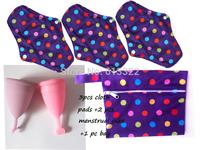 Free Shipping Reusable Mama Cloth 3 pcs Cloth Menstrual Pads +2 pcs Menstrual Cup+1 Storage bag