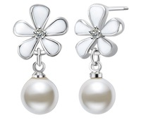 New Arrival Glossy Natural Freshwater Pearls Pendant Earrings 925 Sterling Silver Crystal Flower Wedding Earrings For Women