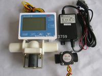 "Free shipping G1/2"" Water Flow Control Counter Meter Flowmeter+Flow Sensor Solenoid valve Power Adapter"
