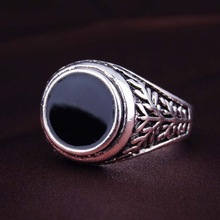 Men Jewelry Vintage Look Black Enamel 925 Sterling Silver Ring Circular Ring Surface Classic Pattern Fashion Rings For Men(China (Mainland))