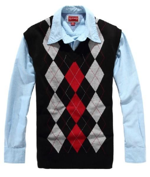 С v-образным вырезом vestidos diamonded узоры мужчины свитер жилет