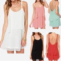 Sexy Women Strap Backless Chiffon Low-cut Cocktail Party Swing Summer Mini Dress 5 Colors Size M-XXL