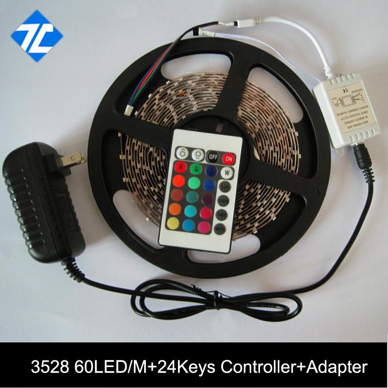 3528SMD 60LEDs/M 100/set RGB LED Strip LED Strip Flexible Non waterproof+ 24W Power Adapter+RGB with 24 Keys IR Remote(China (Mainland))