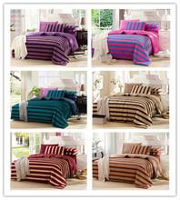 bedclothes 4pcs Active double suite Warm stripe bedding sets king/queen size solid duvet cover set dropship bed sheet set(China (Mainland))