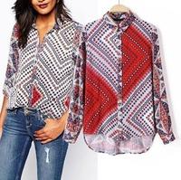 2015 European Style Women Shirt Turn-down Collar Geometric Contrast Color Cotton Spring Autumn Famous Brand Tops Blouse CL2287