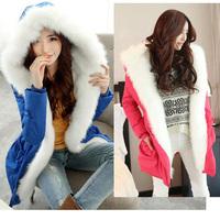 2014 winter jacket women medium-long cotton-padded thick warm down jacket parka plus size XL_4XL