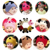8 Colors Autumn Winter Korean Baby Girls Boys Love Dual Ball Panda Cute Wool knit Cap Hat