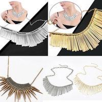 Fashion Womens Girl Metal Gold Multilayer Chain Tassels Choker Bib False Collar Necklace