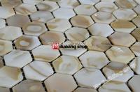 Hexagon shell mosaic wall tile mother of pearl shell tiles kitchen backsplash MOP120 sea shell mosaic bathroom wall tile