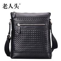 LAORENTOU new satchel single shoulder bag man bag head layer cowhide woven casual leather satchel BAG men
