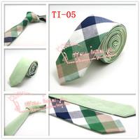 Drop shipping,2015 Brand New,Men Green Multi color corbatas necktie,Mens Plaid double wear Cotton gravata Skinny Neck Ties,TI05