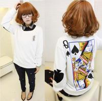 Womens Letter Poker Print Harajuku Sweatshirt White Long Sleeve Loose Blouse Top size S-XL