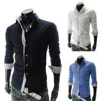 2014 New Dress Fashion Quality Long Sleeve Shirt Men.Korean Slim Design,Formal Casual Male Dress Shirt.Solid Color.Stripe