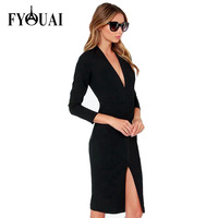 FYOUAI 2015 Women Evening Dress Party Dresses Fashion Slim V-Neck Sexy Dress Vestidos Femininos