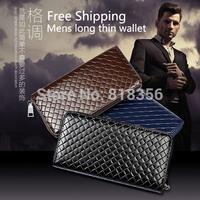 men's Design Weave Quilted long Man Wallet Zipper PU Leather Purse Clutch Wallet Zip Around Fashion Change Purse *