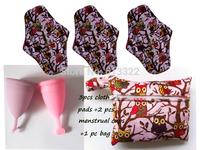 Free Shipping 3 pcs Cloth Menstrual Pads +2 pcs Menstrual Cup+1 Storage bag,Best Cloth Pad And Mama Cup