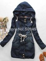 2013 new women fashion Hot-selling women 's Denim long thick warm winter coat Mianfu women coat sleeve