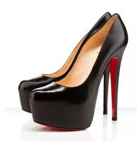 top fashion red bottom women pumps platform 2015 women high heels slip-on shoes black women autumn spring 14cm heels