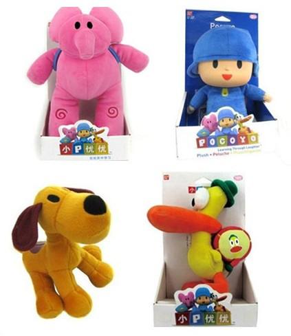 4pcs/lot Full Set 25-30cm POCOYO plush toy Cartoon Stuffed Animals Toys Loula & Elly & Pato &