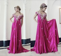 Fuchsia Empire Formal celebrity Evening Gowns for pregnant 2014 Fashion off shoulder Beaded Party Prom Dress ZY1154