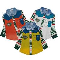 [April's]fashion kids clothing,spring boys shirt printed cotton shirt  children long sleeve shirts srtipes colour match A13115