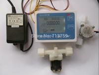 "Free shipping Quantitative Water Flow Counter Controller Flowmeter +G1/4"" Flow Sensor Meter +Power Adapter +Solenoid valve"