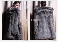 New 2014 winter real genuine sliver fox fur long coat for luxury women plus size womens jackets overcoat striped warm coats