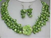 3row Green Pearl Necklace Earring shell Flower Clasplong necklace fine jewelry