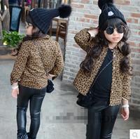 children's clothing wholesale Korean girls winter paragraph plus velvet leopard shirt
