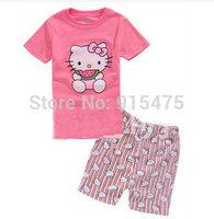 T0137 2015 New design 100% Cotton Children's wear ,Baby short sleeve pajamas,Kids pyjamas boys girls sleepwear set 6set/lot