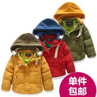 2014 winter male children's child clothing female child plus velvet thickening cotton-padded jacket baby wadded jacket outerwear