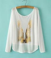 2015 European Style Women Chiffon Shirt O-neck Chiffon Casual Loose Long SleeveSpring Summer Famous Brand Tops Blouse CL2208