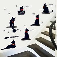 Cute little sitting room sofa bedroom corridor black cat wall stickers glass window stickers