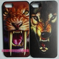 New arrival !!! Ultra-thin Painted Tiger Wolf Hard Case Back Cover For iPhone 5 5s Roaring Tiger 5 Patterns